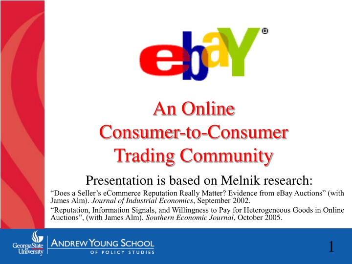 An online consumer to consumer trading community