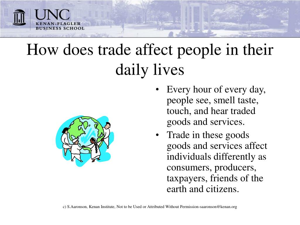 How does trade affect people in their daily lives