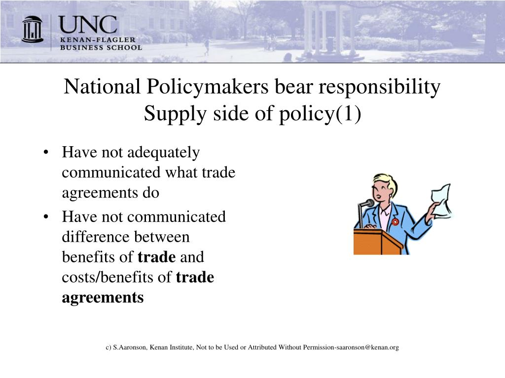 National Policymakers bear responsibility   Supply side of policy(1)