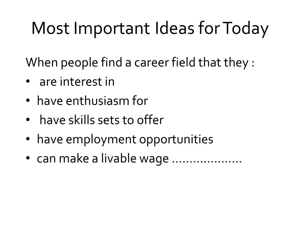 Most Important	 Ideas for Today