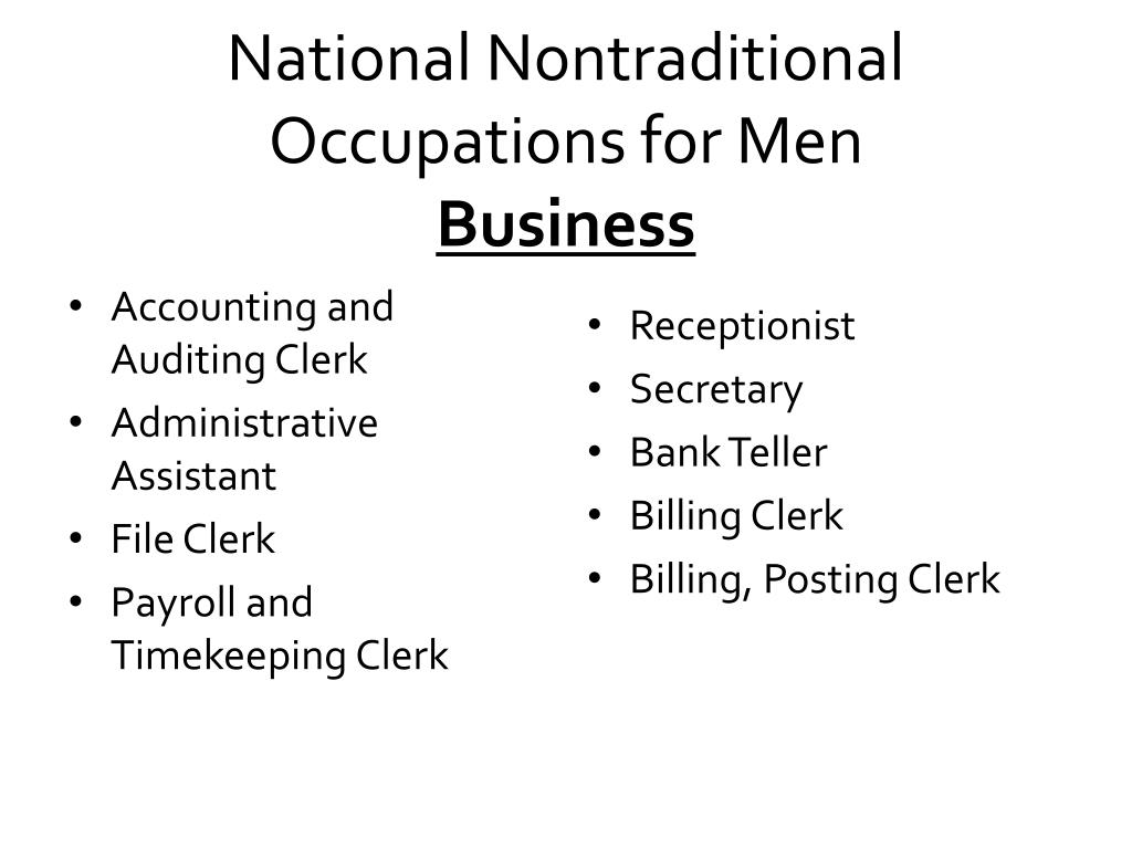 National Nontraditional Occupations for Men