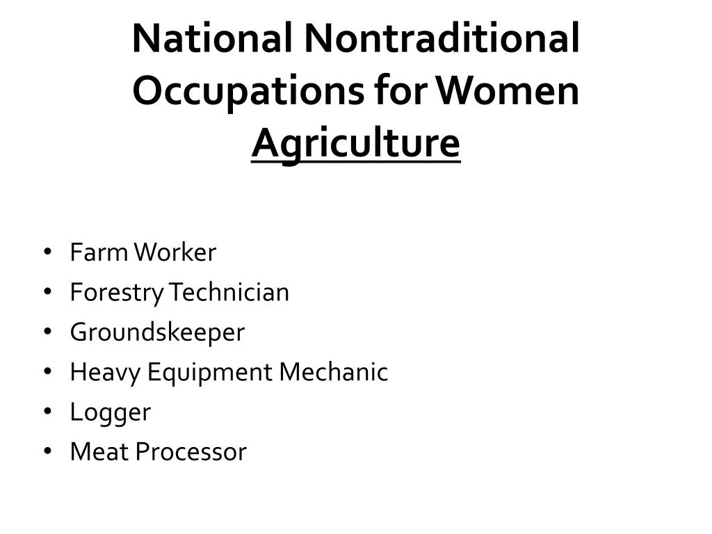 National Nontraditional Occupations for Women