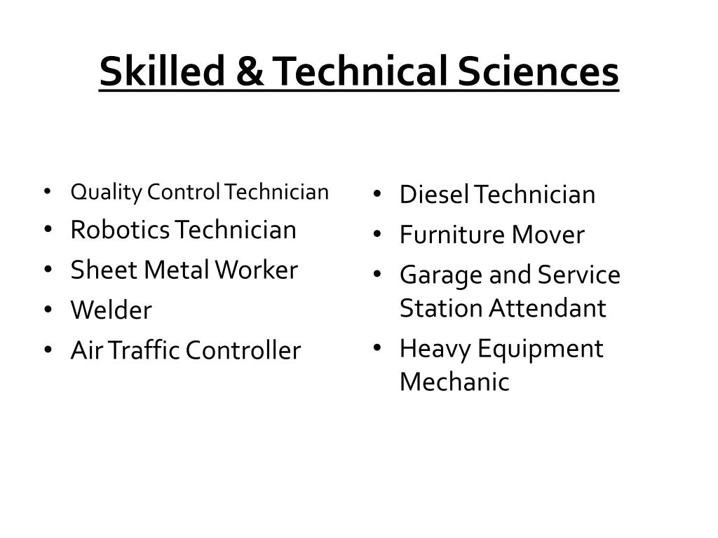 Skilled & Technical Sciences
