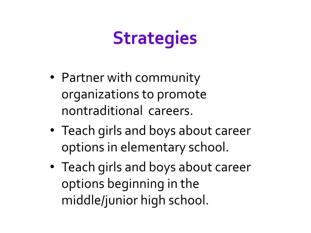 Partner with community organizations to promote nontraditional  careers.