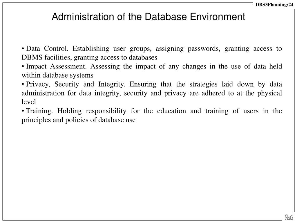 Administration of the Database Environment