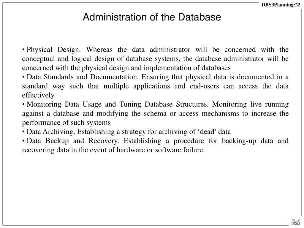 Administration of the Database