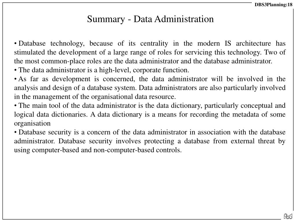 Summary - Data Administration