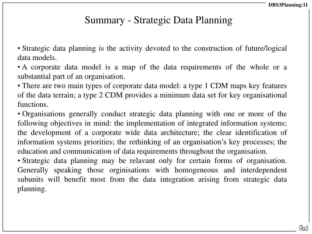Summary - Strategic Data Planning