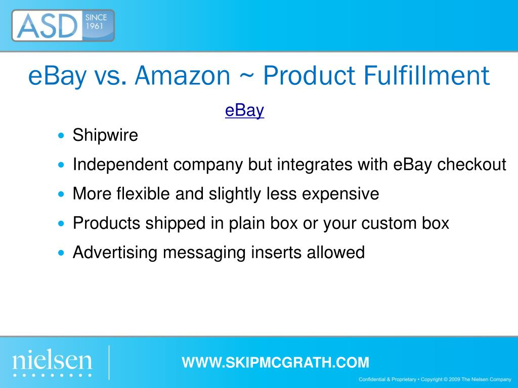 eBay vs. Amazon ~ Product Fulfillment