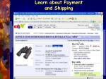 learn about payment and shipping