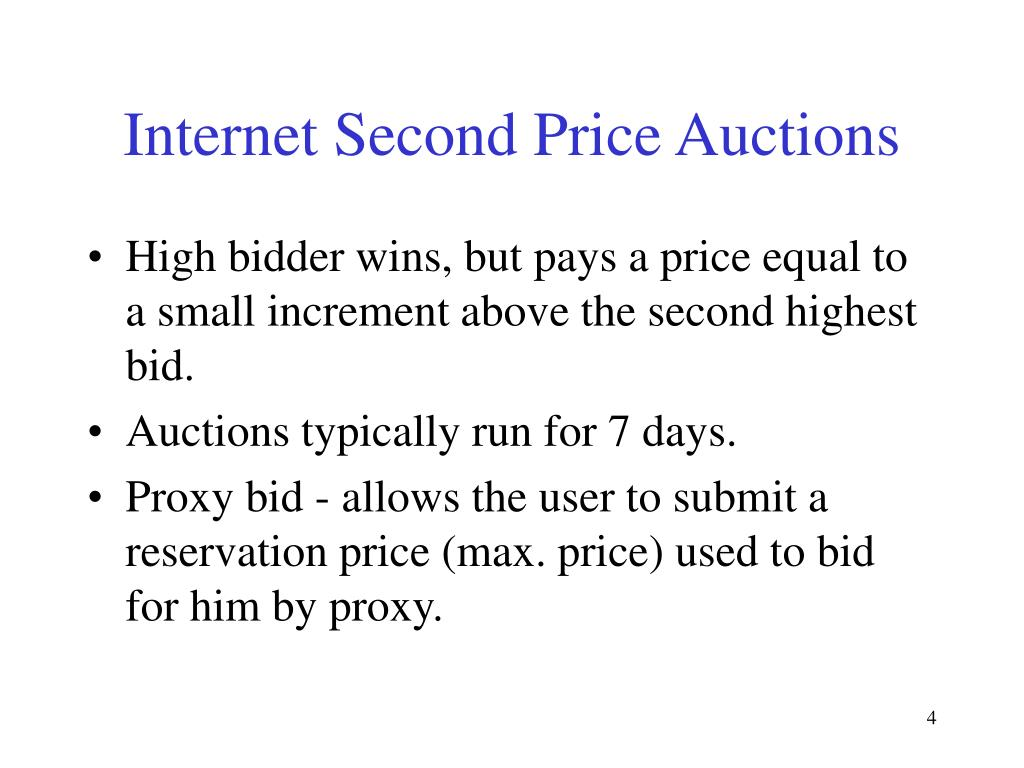 Internet Second Price Auctions