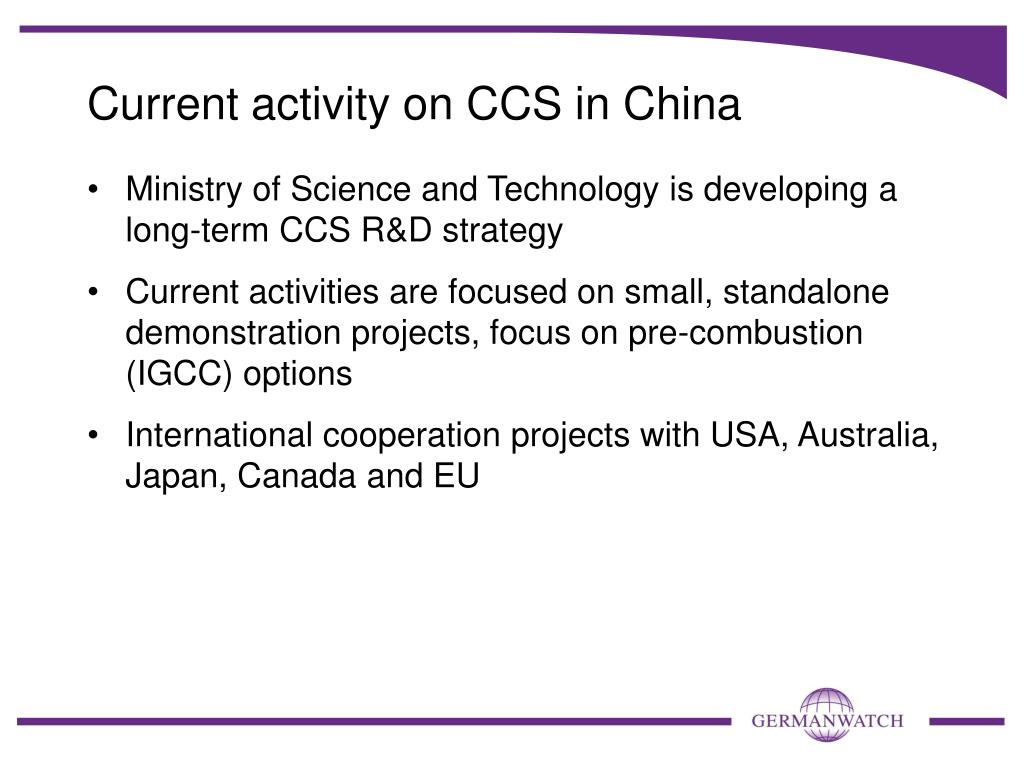 Current activity on CCS in China