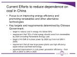 current efforts to reduce dependence on coal in china