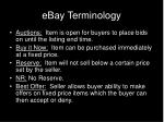 ebay terminology
