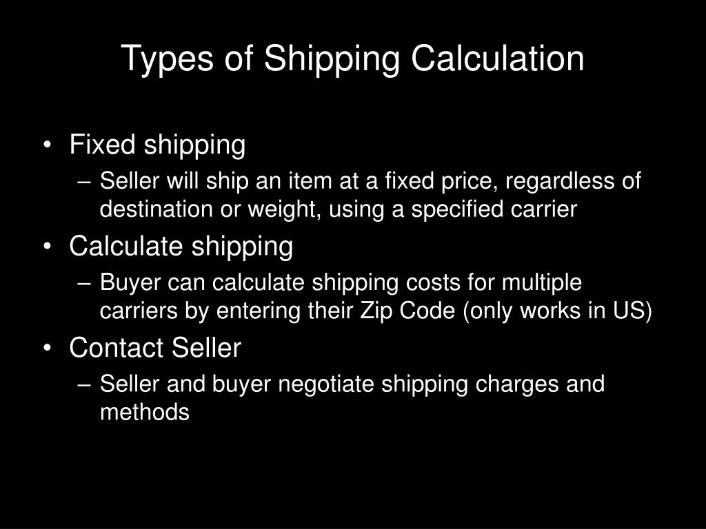Types of Shipping Calculation