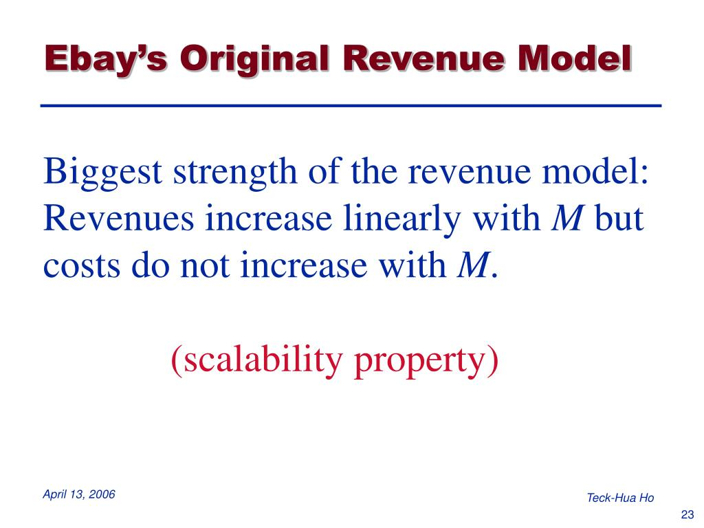 Ebay's Original Revenue Model