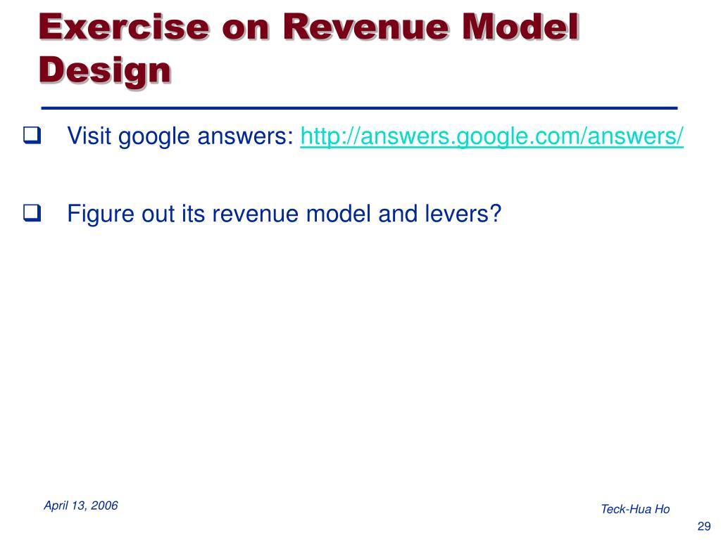 Exercise on Revenue Model Design