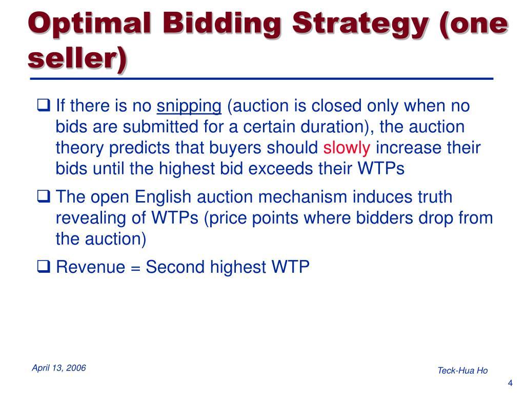 Optimal Bidding Strategy (one seller)