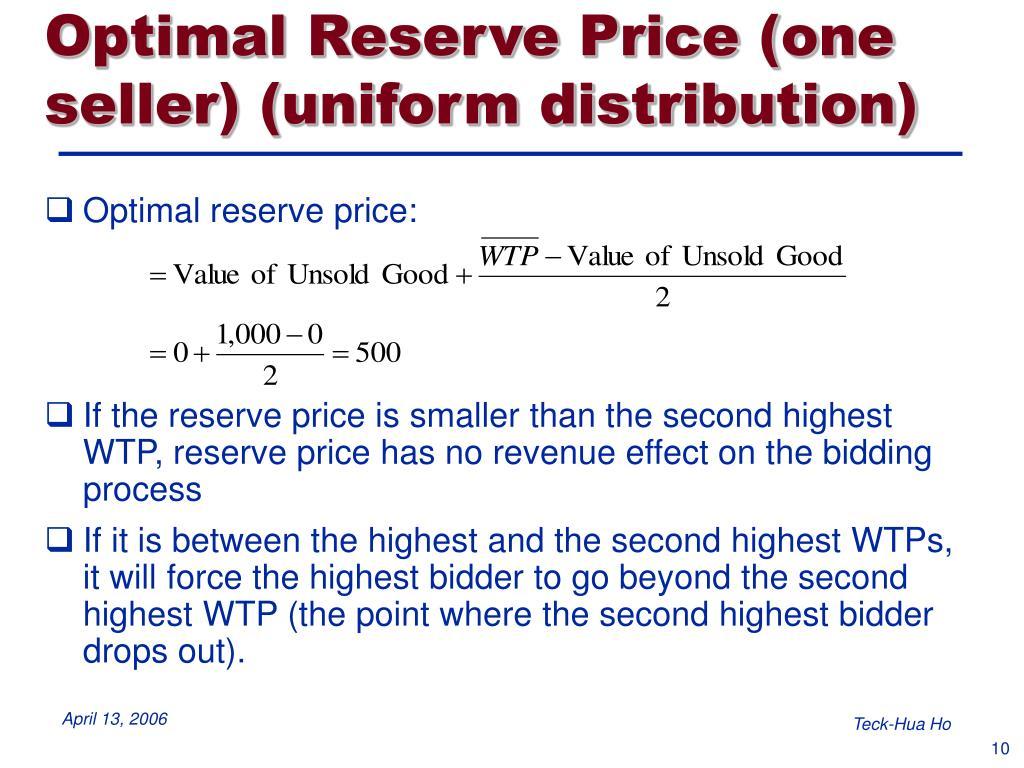 Optimal Reserve Price (one seller) (uniform distribution)