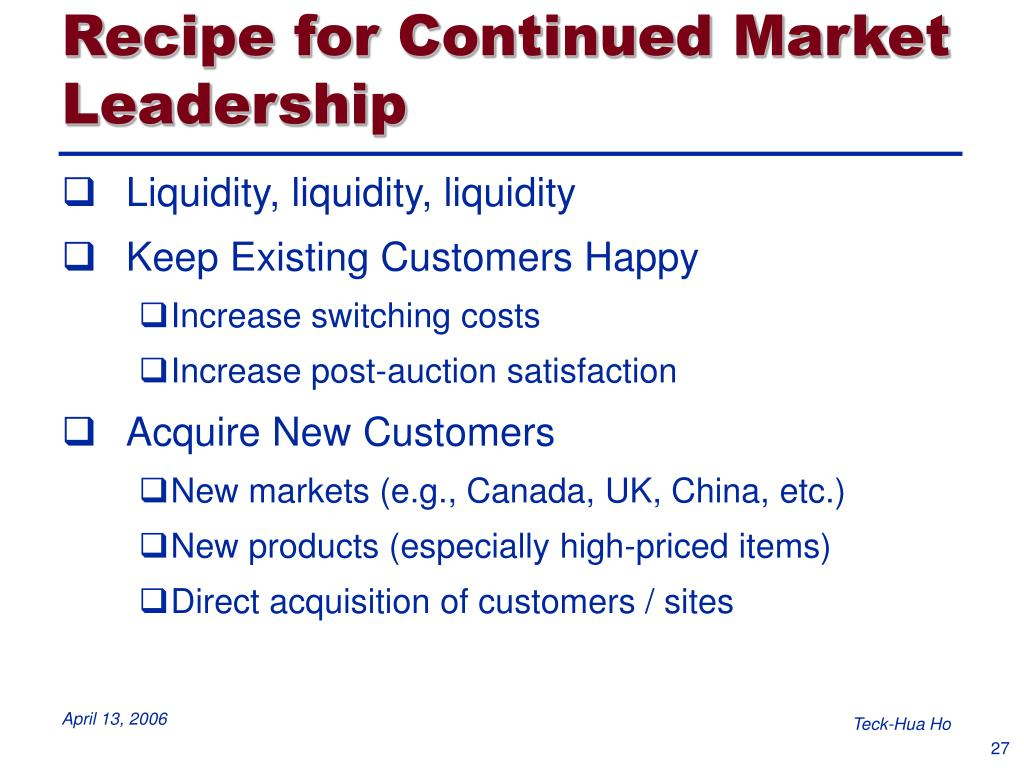 Recipe for Continued Market Leadership