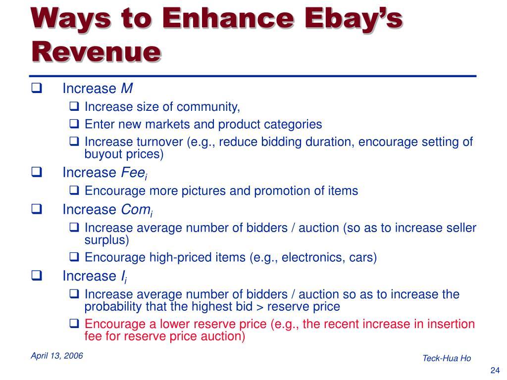 Ways to Enhance Ebay's Revenue