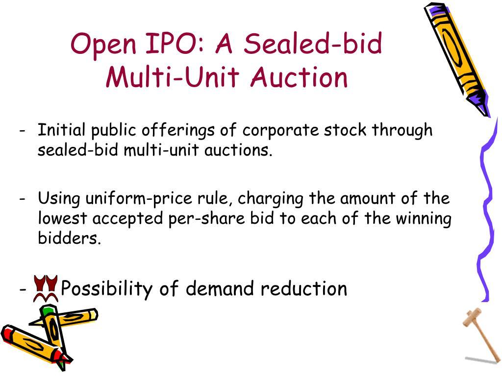Open IPO: A Sealed-bid Multi-Unit Auction