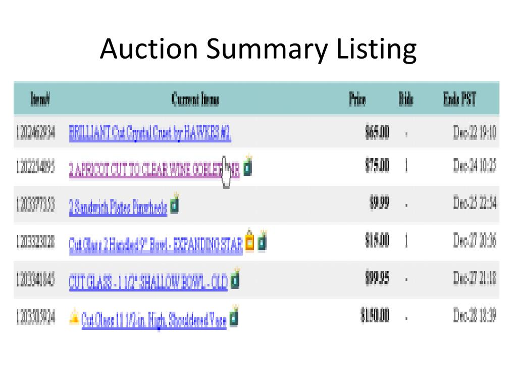 Auction Summary Listing