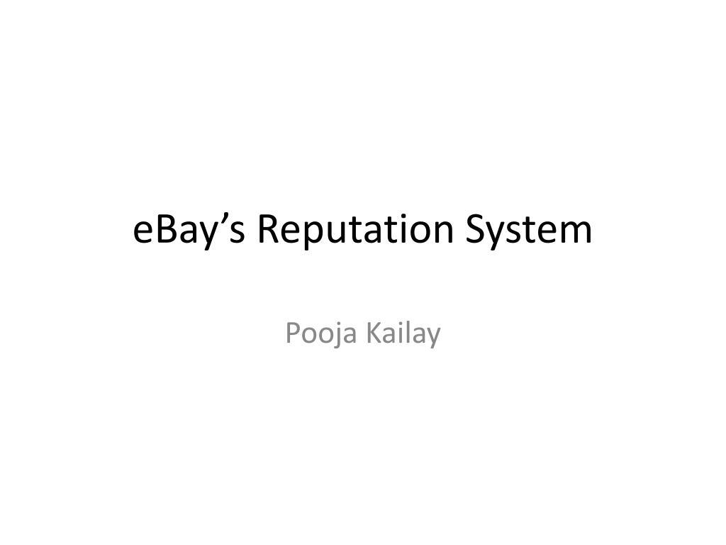 eBay's Reputation System