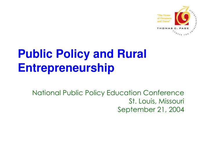 Public policy and rural entrepreneurship l.jpg