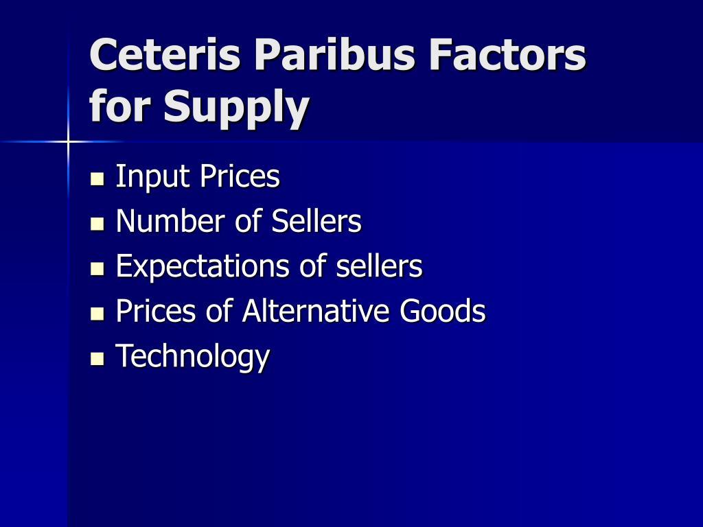 Ceteris Paribus Factors for Supply