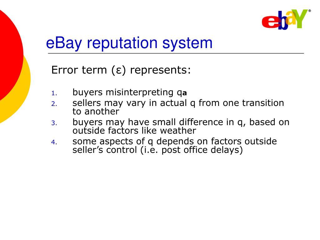 eBay reputation system