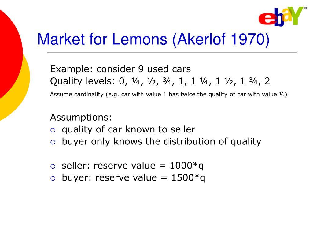 Market for Lemons (Akerlof 1970)