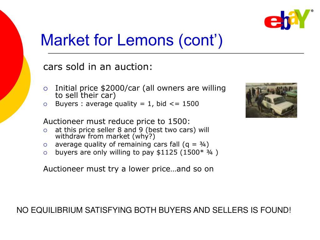 Market for Lemons (cont')