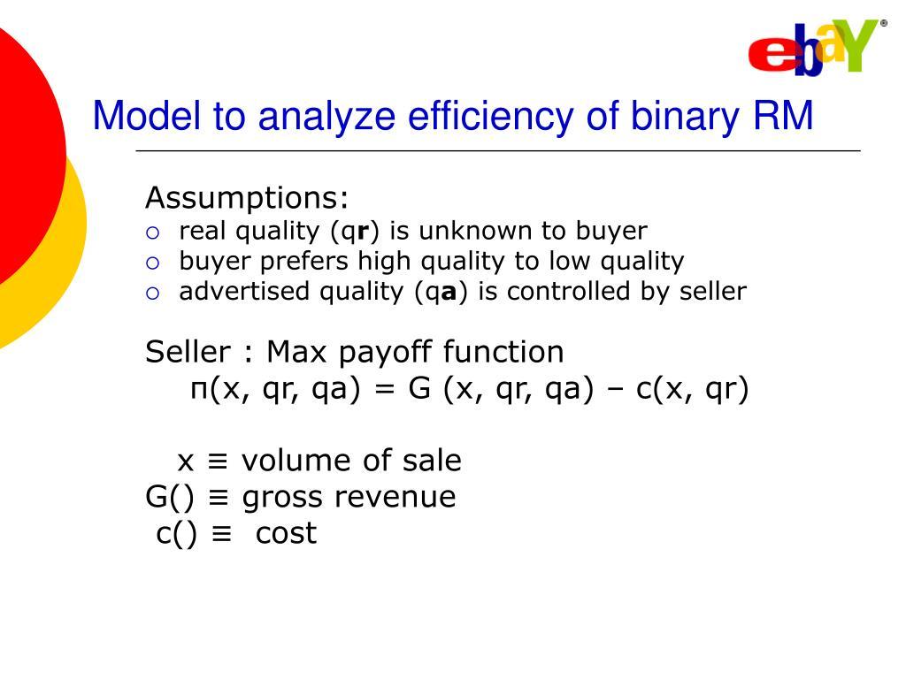 Model to analyze efficiency of binary RM