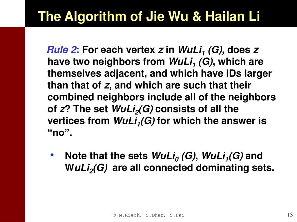 The Algorithm of Jie Wu & Hailan Li
