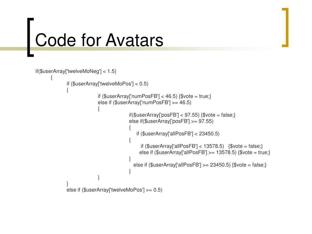 Code for Avatars