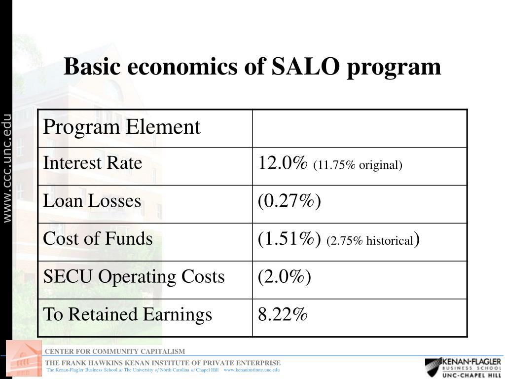 Basic economics of SALO program