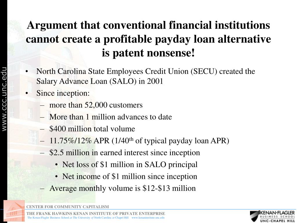 Argument that conventional financial institutions cannot create a profitable payday loan alternative is patent nonsense!
