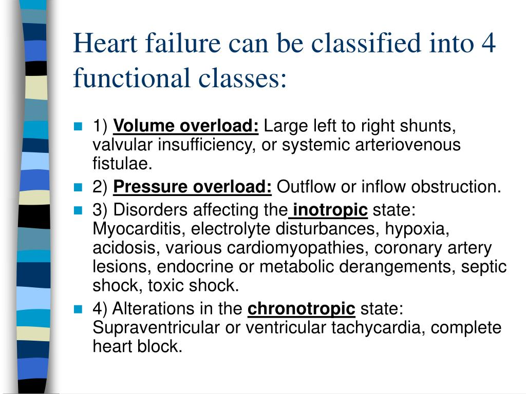 Heart failure can be classified into 4 functional classes: