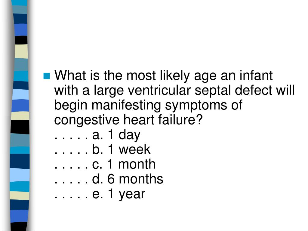 What is the most likely age an infant with a large ventricular septal defect will begin manifesting symptoms of congestive heart failure?
