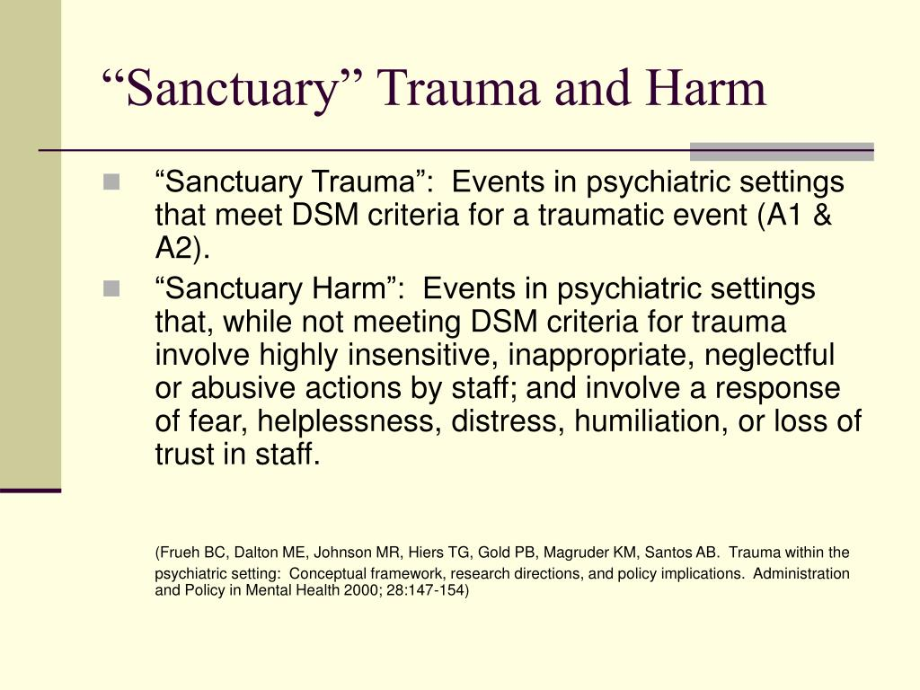 """Sanctuary"" Trauma and Harm"