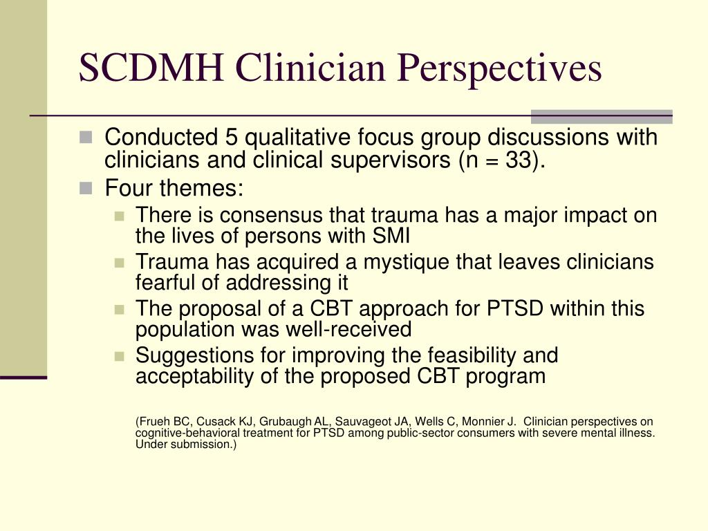 SCDMH Clinician Perspectives