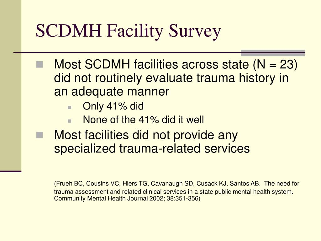 SCDMH Facility Survey