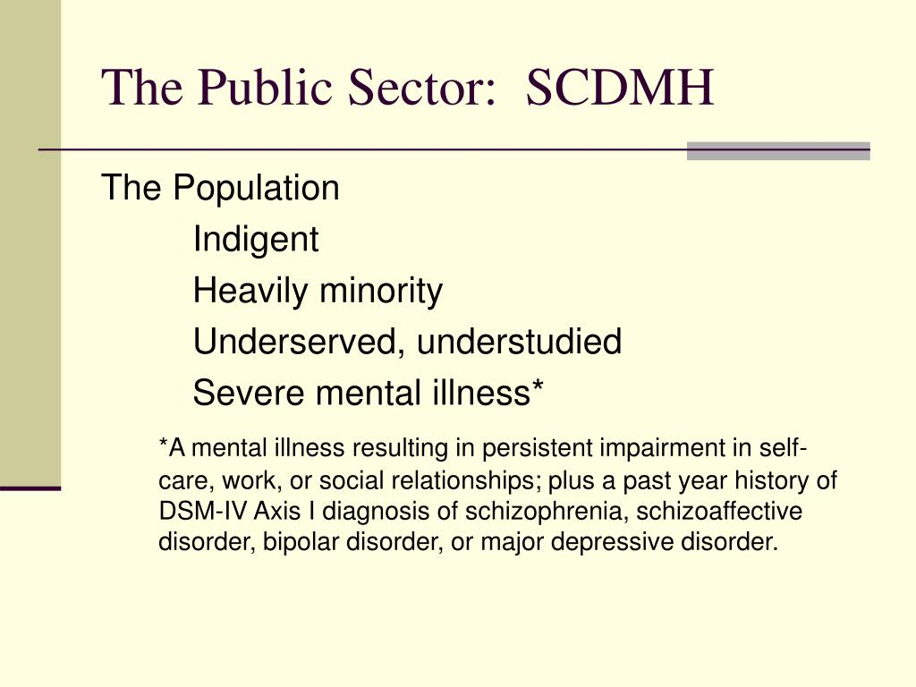 The Public Sector:  SCDMH