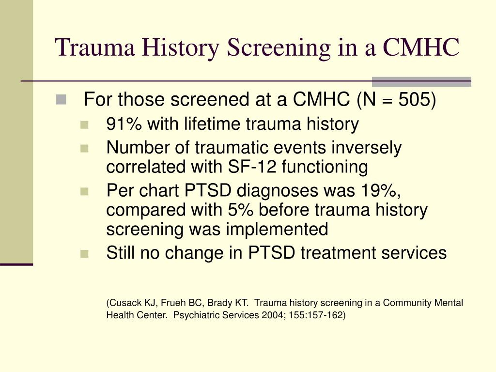 Trauma History Screening in a CMHC