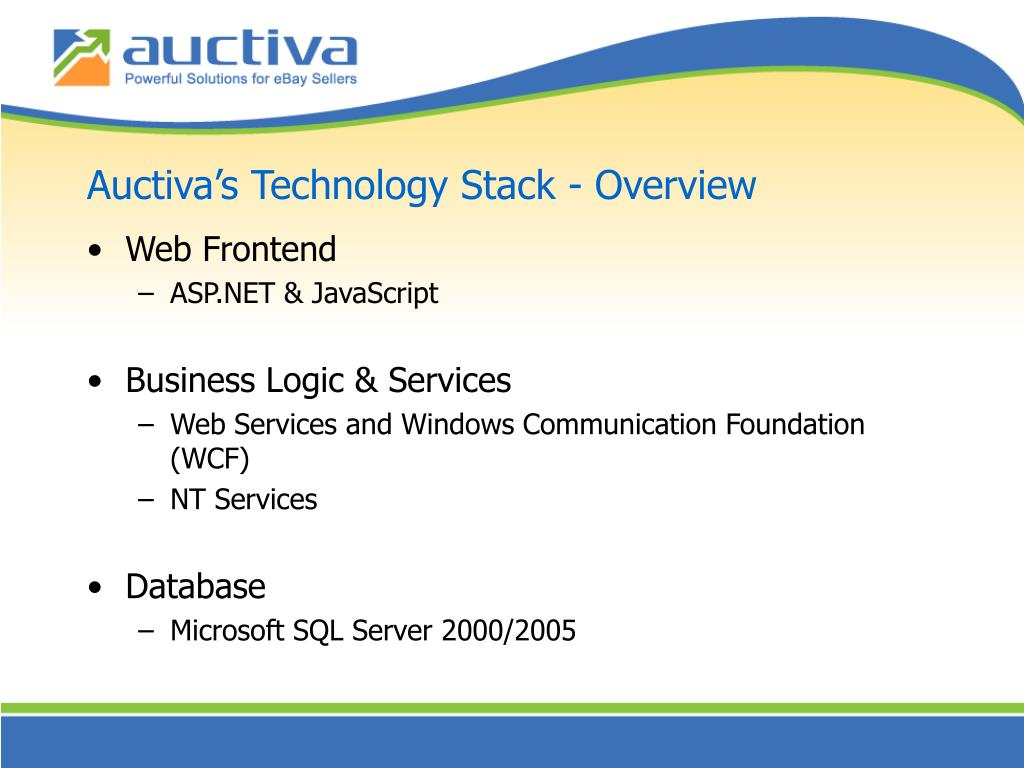 Auctiva's Technology Stack - Overview