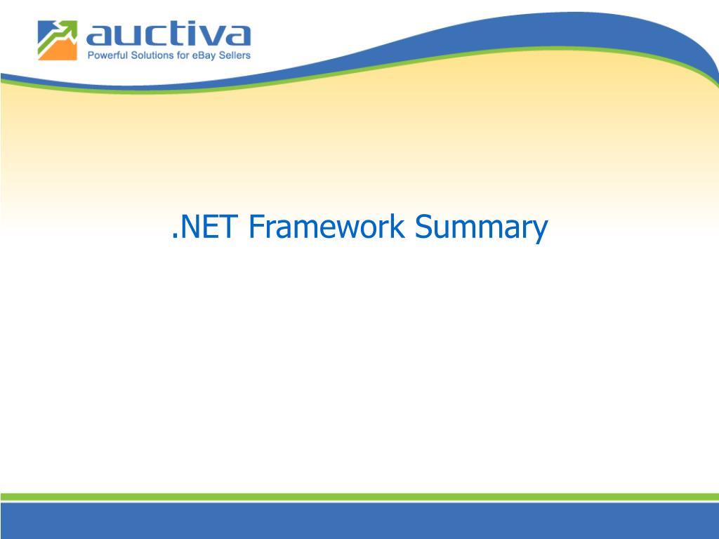 .NET Framework Summary