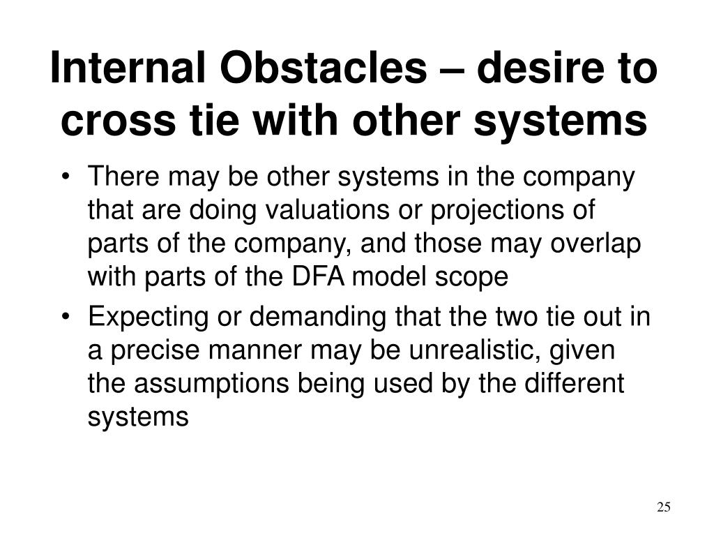 Internal Obstacles – desire to  cross tie with other systems