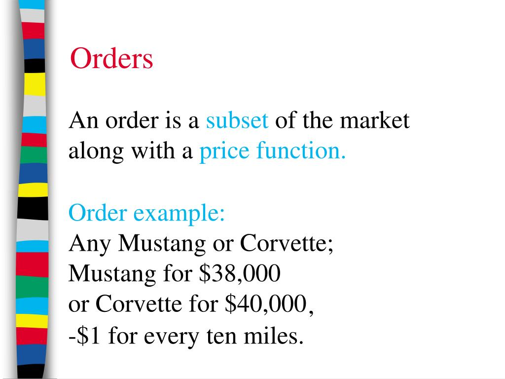Order example: