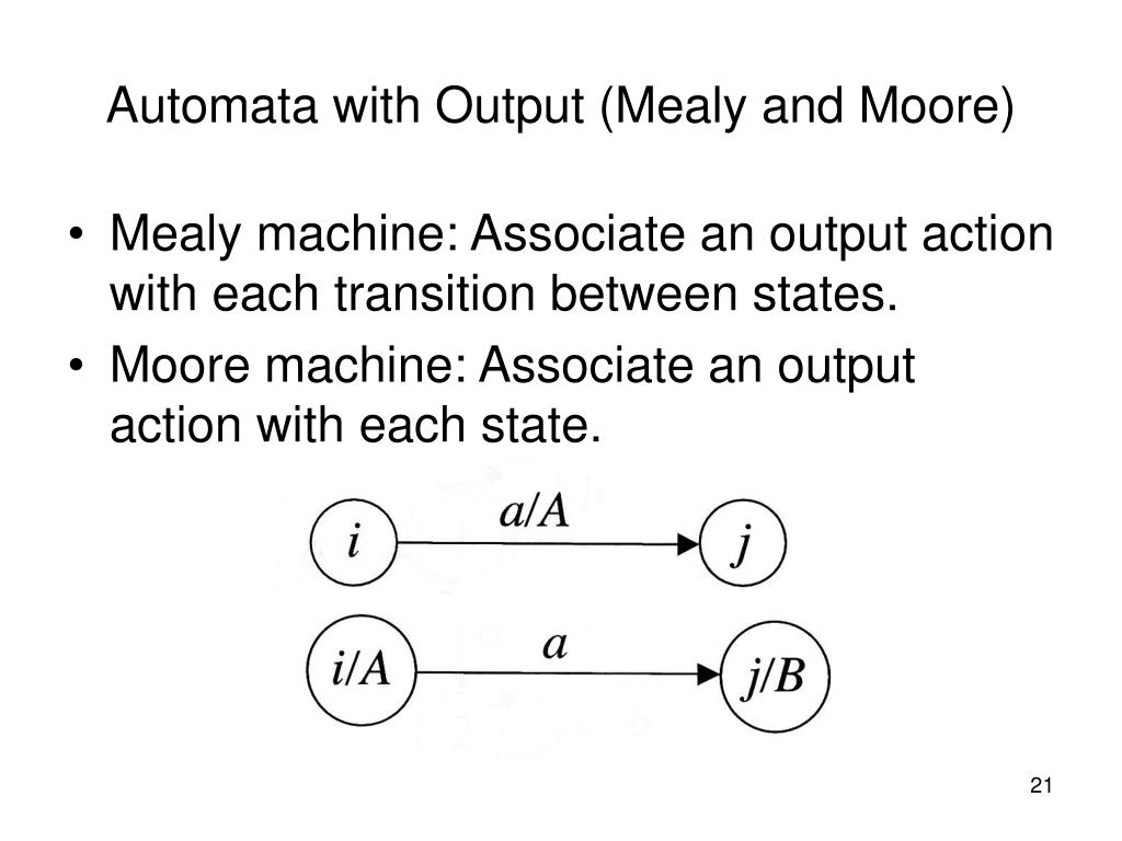 Automata with Output (Mealy and Moore)